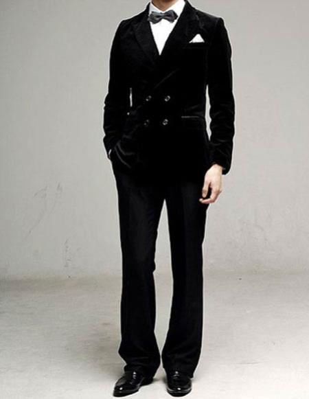Mens black Double Breasted Peak Lapel Cotton Velvet suit