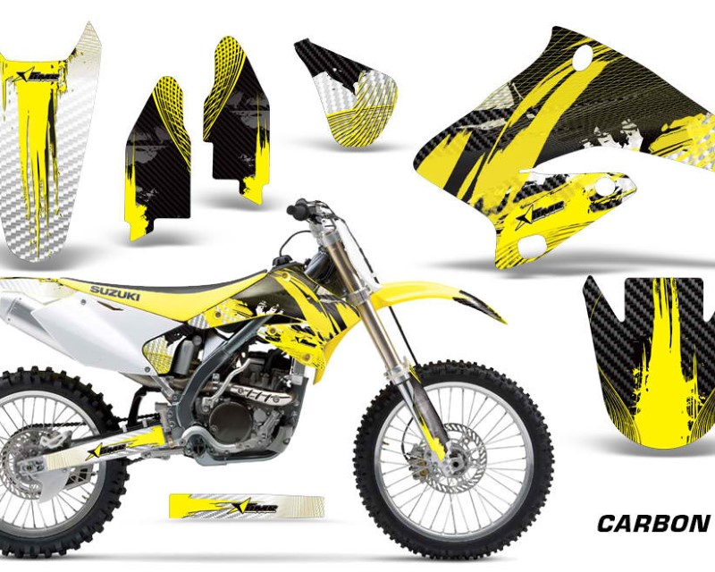AMR Racing Dirt Bike Graphics Kit Decal Sticker Wrap For Suzuki RMZ250 2004-2006áCARBONX YELLOW