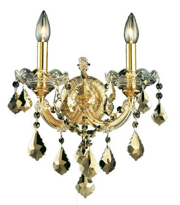 2800W2G-GT/SS 2800 Maria Theresa Collection Wall Sconce W12in H12in E8.5in Lt: 2 Gold Finish (Swarovski Strass/Elements Golden