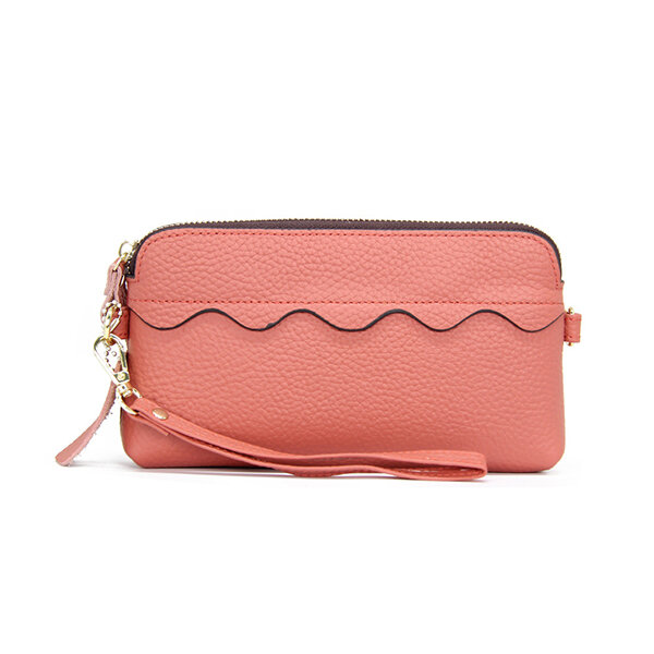 Women Casual Genuine Leather Long Phone Purse Solid Clutch Bag