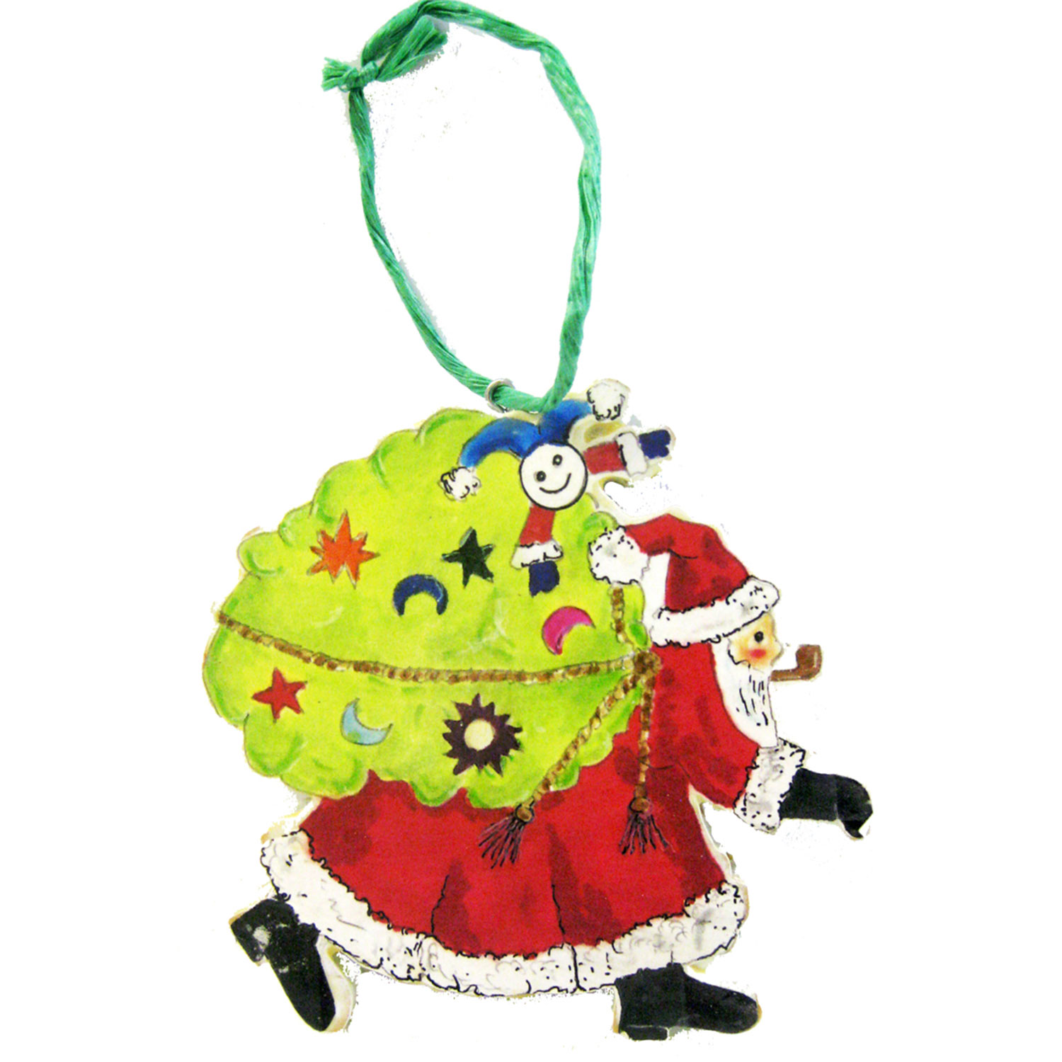 Santa with Sack Ornament  Woodworking Pattern and Picture