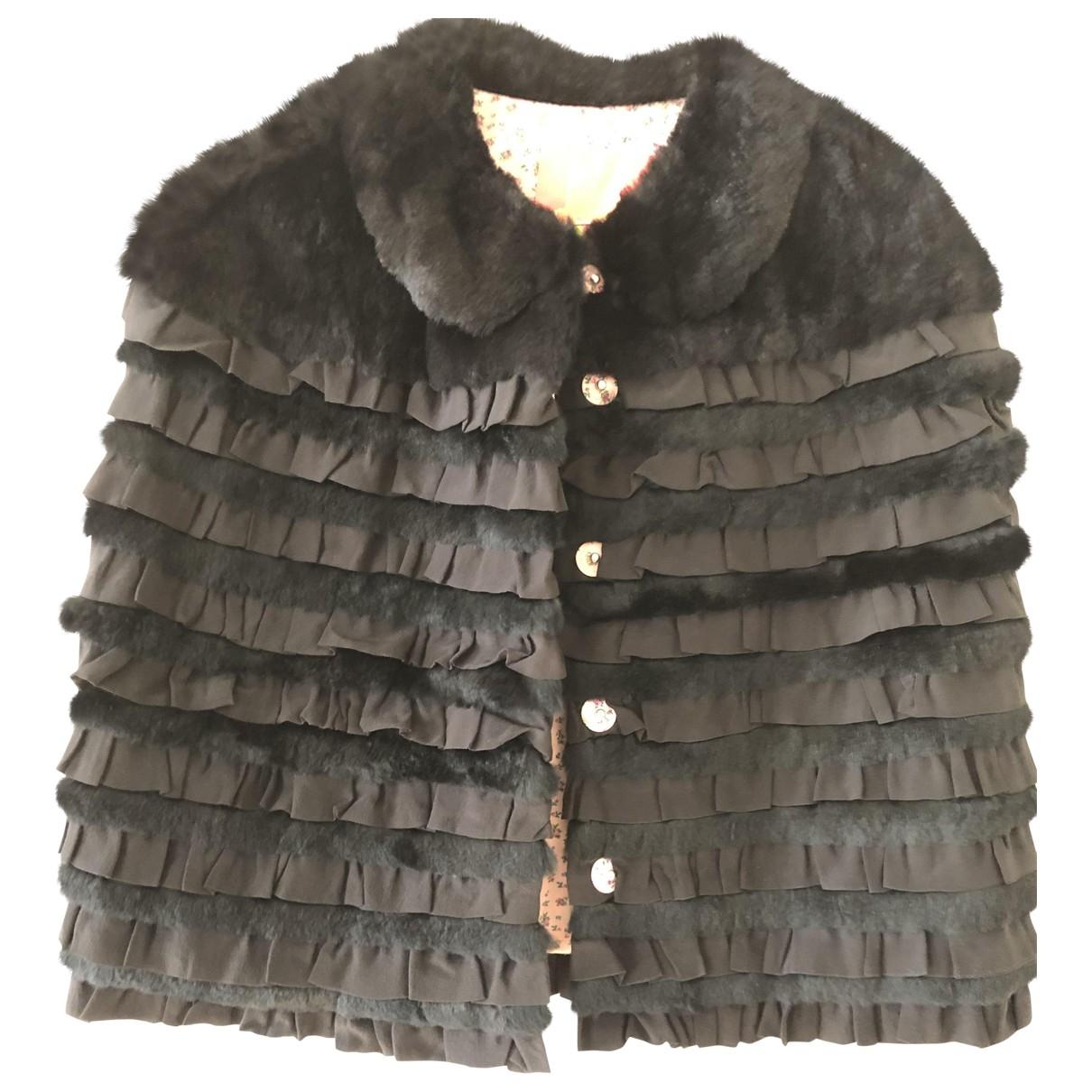 Manoush - Veste   pour femme en lapin - noir