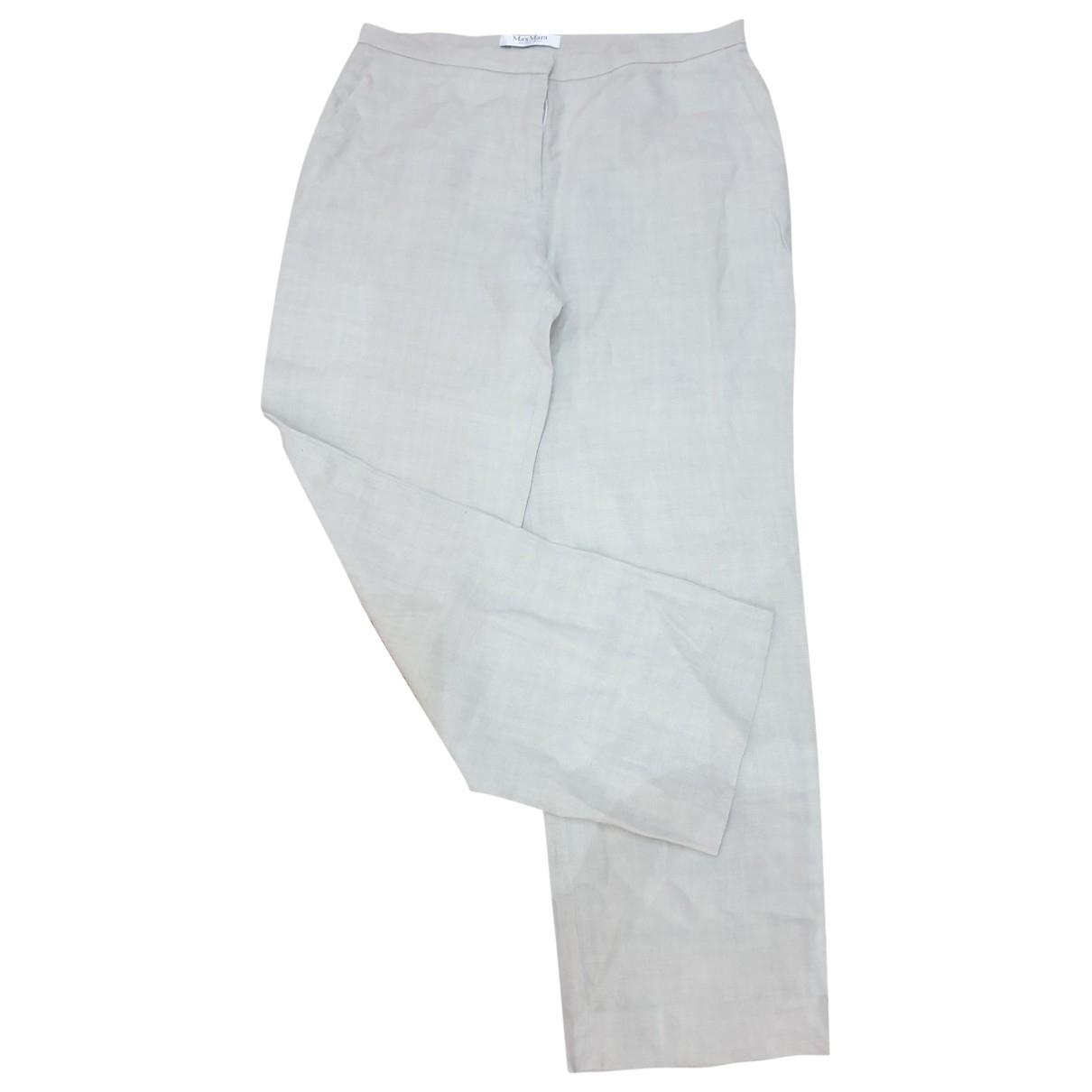 Max Mara \N Beige Linen Trousers for Women 46 IT