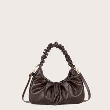 Ruched Decor Crocodile Shoulder Bag