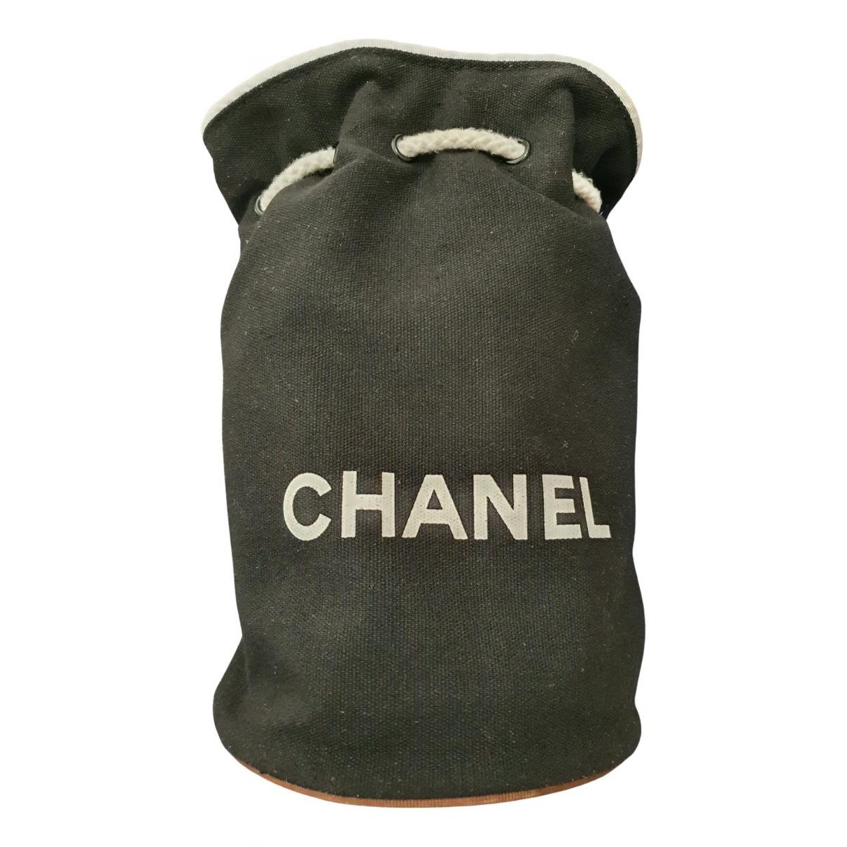 Chanel - Sac a dos   pour femme en coton - noir