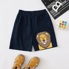 Toddler Boys Cartoon Lion Patched Shorts