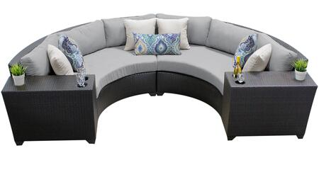 Barbados BARBADOS-04c-GREY 4-Piece Wicker Patio Set 04c with 2 Cup Tables and 2 Curved Armless Sofas - Wheat and Grey
