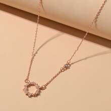 Rhinestone Round Charm Necklace