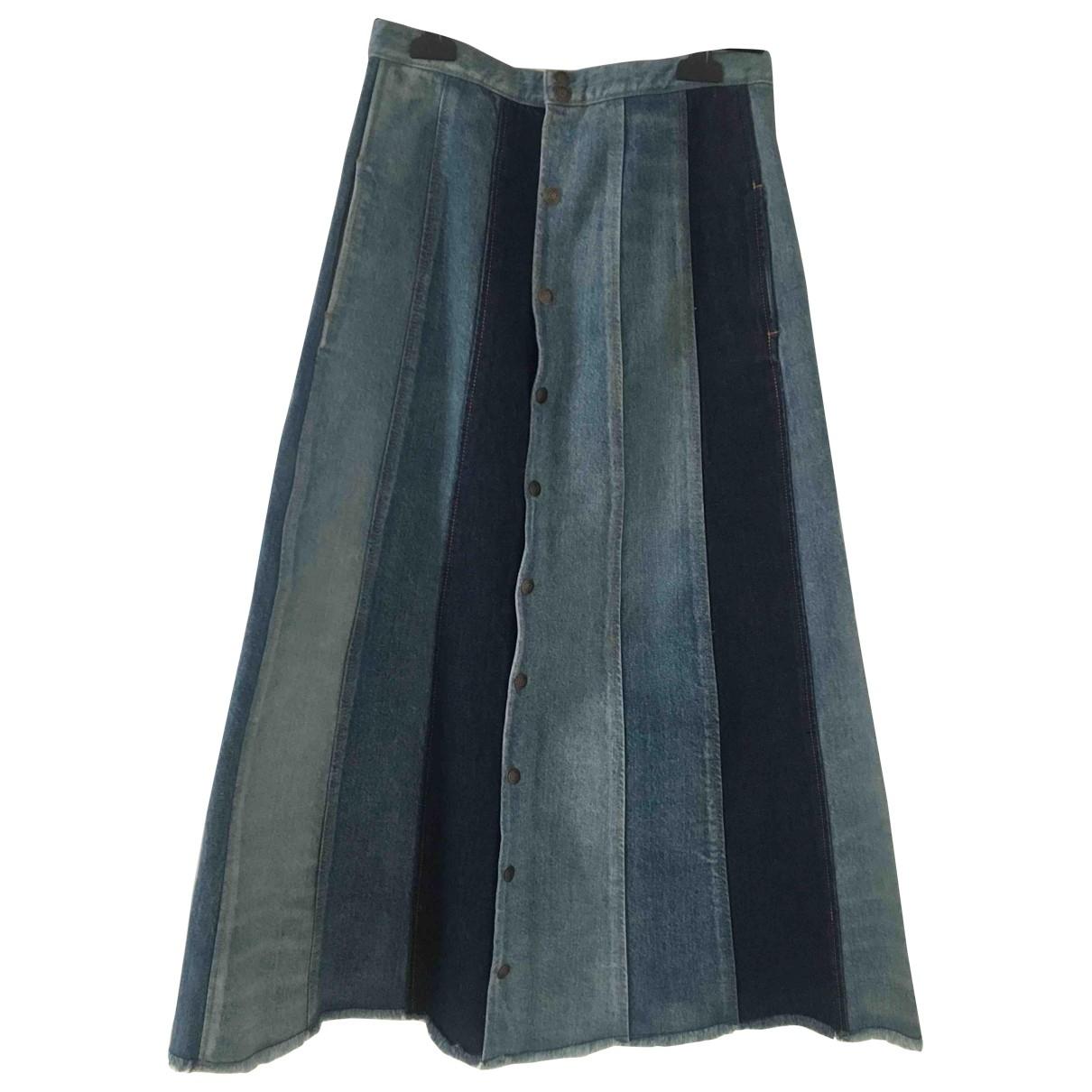 Saint Laurent \N Blue Cotton skirt for Women 26 US