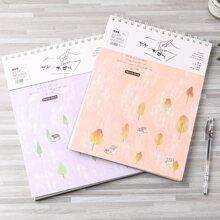 1pc Random Plants Print Cover Spiral Notebook