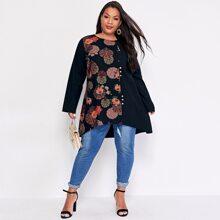 Tunika Bluse mit Blumen & Stamm Muster und Stufensaum