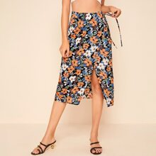 Allover Floral Tie Side Wrap Skirt