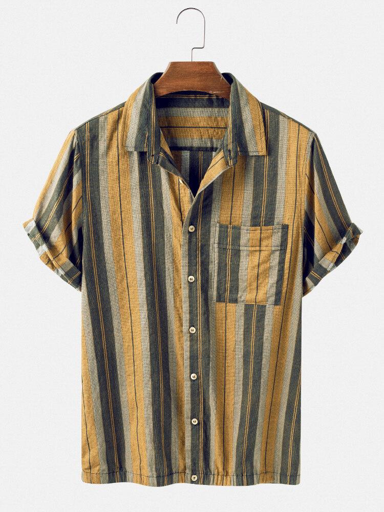 Mens Vintage Striped Breathable Chest Pocket Short Sleeve Shirts