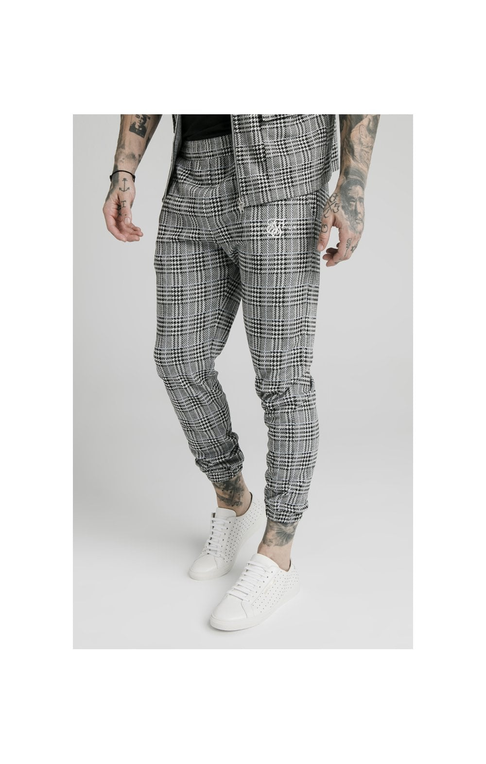 SikSilk Smart Cuff Pants - Grey Dogtooth MEN SIZES BOTTOM: Small 30in