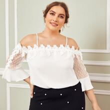 Plus Cold Shoulder Guipure Lace Trim Mesh Sleeve Top