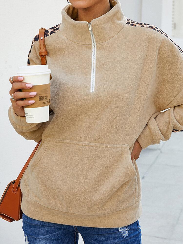Leopard Print Patchwork Fleece Long Sleeve Plus Size Sweatshirt