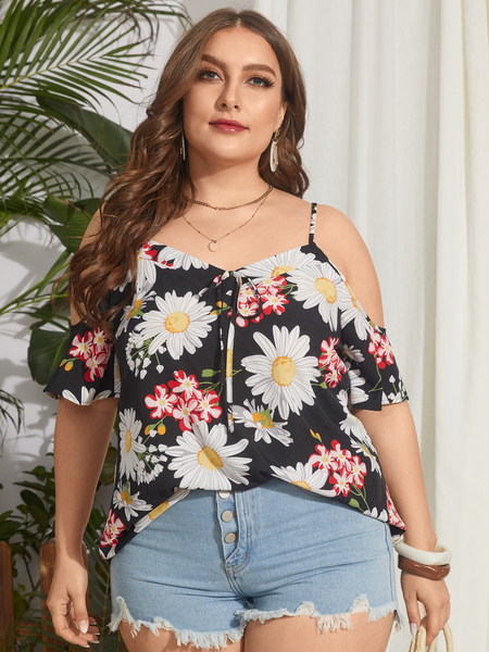 YOINS Plus Size Cold Shoulder Floral Print Tie-up Design Half Sleeves Blouse
