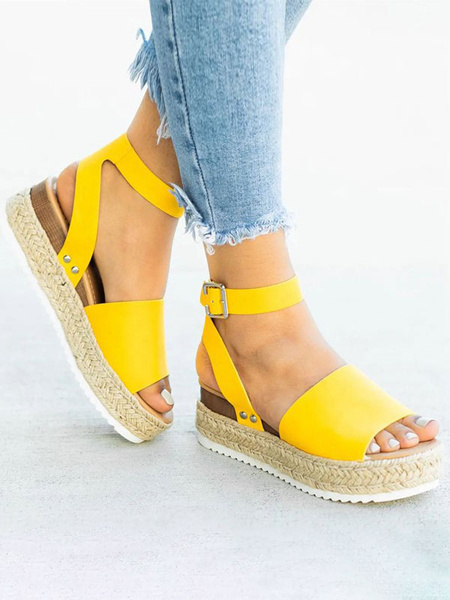 Milanoo Women Flatform Sandals Yellow Open Toe PU Leather Sandal Shoes