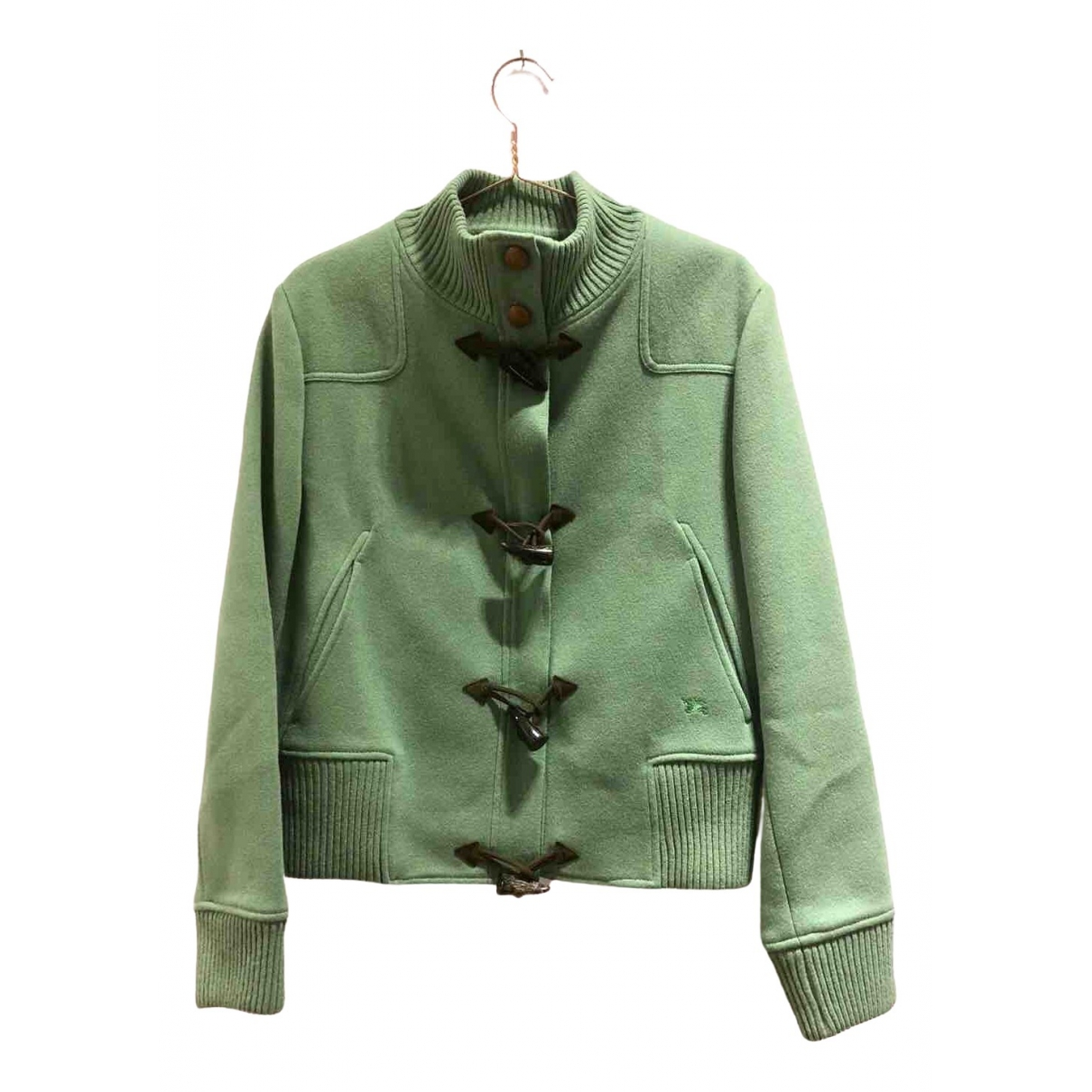 Burberry \N Green Wool Leather jacket for Women 48 FR