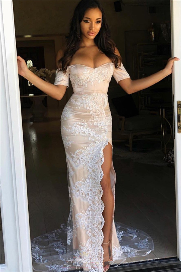 Mermaid Elegant Off-The-Shoulder Appliques Side-Slit Prom Dresses