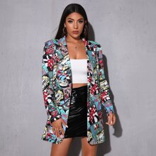 Notched Collar Pop Art Print Single Button Blazer