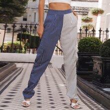 Pantalones de cintura alta de dos colores