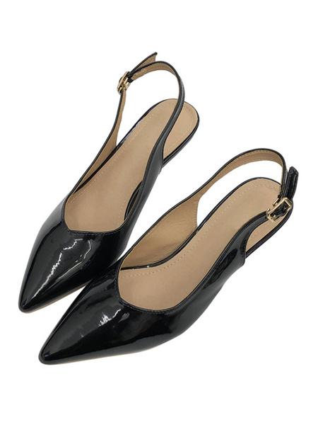 Milanoo Kitten Heel Pumps Red Pointed Toe Slingbacks Slip On Pumps For Women