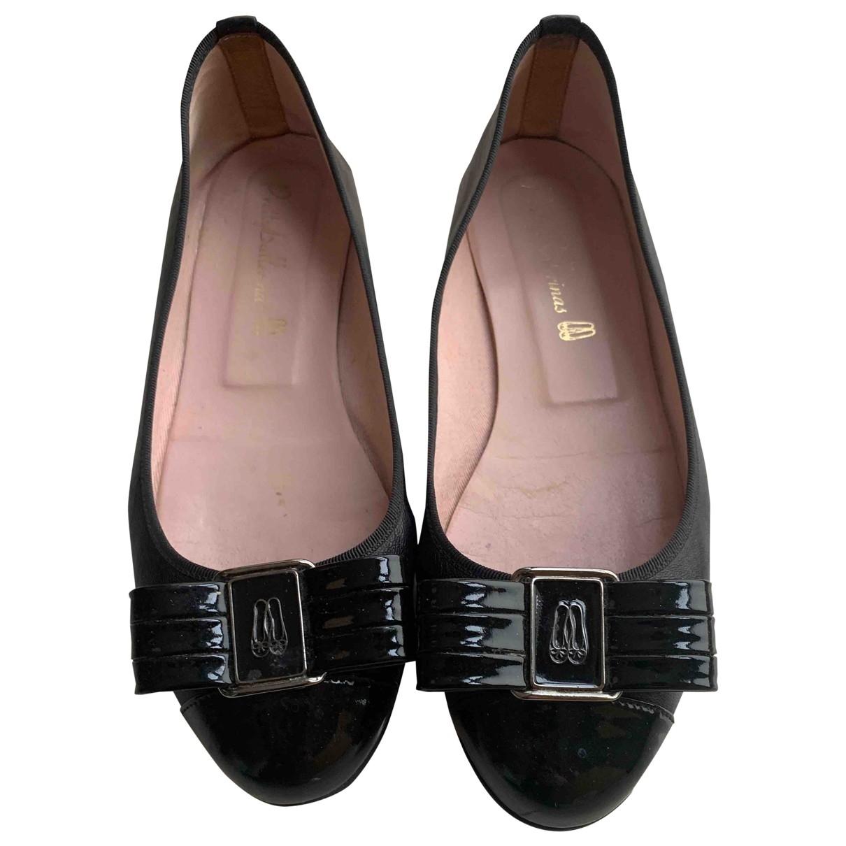 Pretty Ballerinas \N Black Leather Ballet flats for Women 39 EU