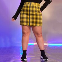 Plus Tartan Zip Up Skirt