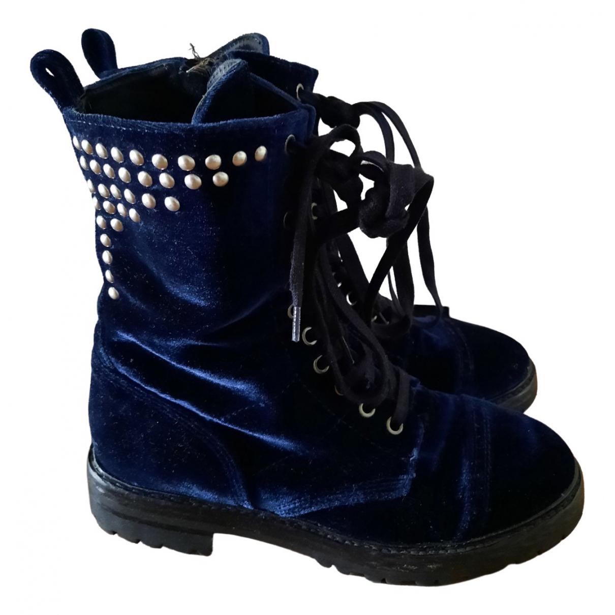 Cmmn Swdn - Bottes   pour femme en velours - bleu