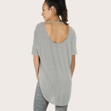 Cut Out Back High Low Hem Sports Tee