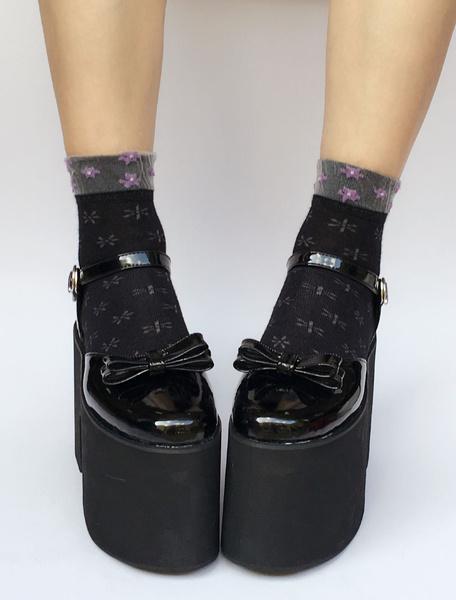 Milanoo Platform Lolita Shoes Black Chunky Heel Ankle Strap Lolita Pumps With Bow