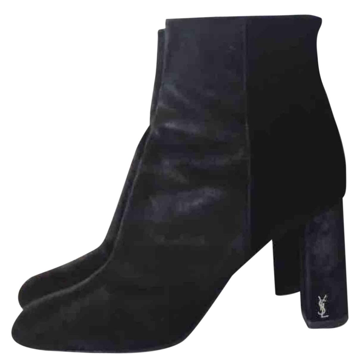 Saint Laurent - Boots Loulou pour femme en velours - noir