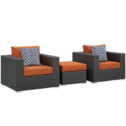Sojourn Collection EEI-2386-CHC-TUS-SET 3 PC Outdoor Patio Sectional Set with Sunbrella  Fabric  Synthetic Rattan Weave  Powder Coated Aluminum Frame