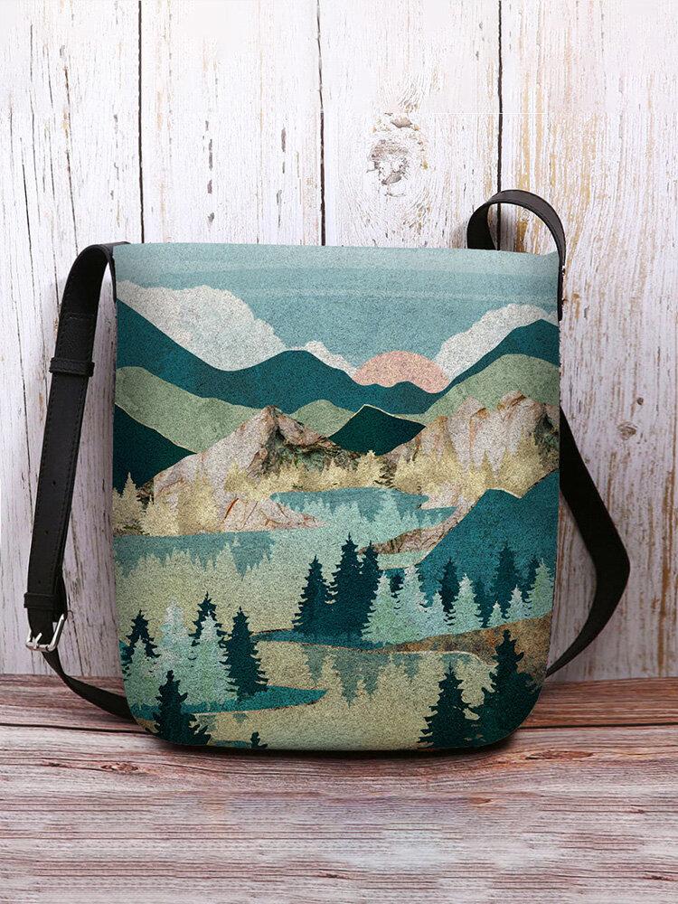 Women Felt Ladies Mountain Forest Anti theft Print Bag Crossbody Bag