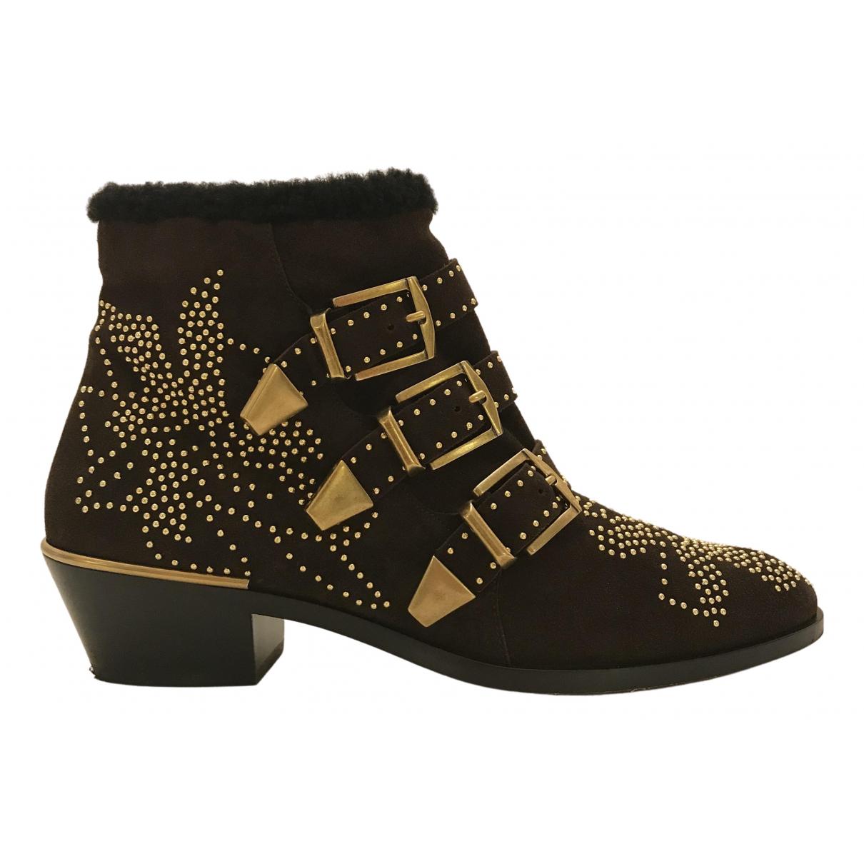 Chloé Susanna Brown Suede Ankle boots for Women 38 EU