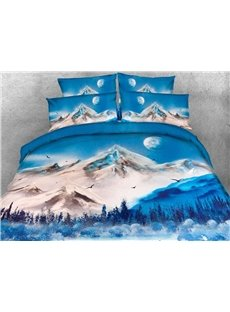 Snow Mountain and Lake Printed 4-Piece 3D Bedding Sets/Duvet Covers