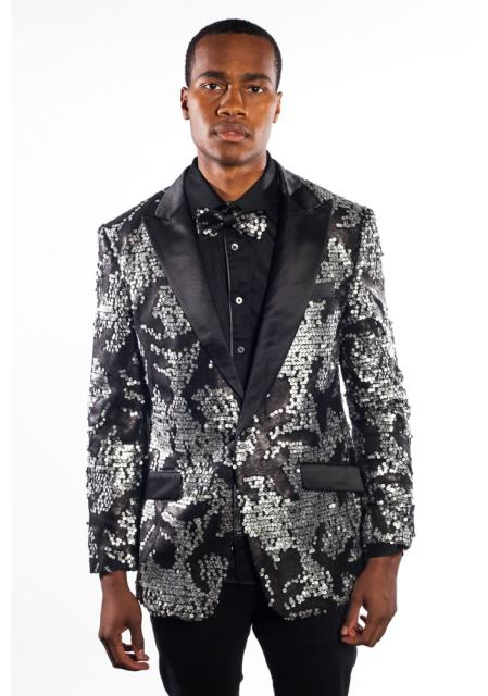 Mens Black Sport Coat Fashion Velvet Peak Lapel Jacket Paisley Tuxedo
