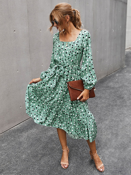 Milanoo Boho Dress Square Neck Long Sleeves Polka DotWinter Spring Fall Dress