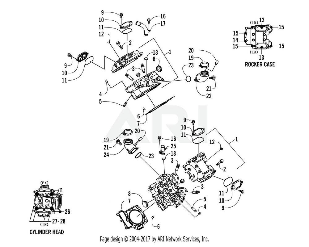 Arctic Cat OEM 3201-065 Head Comp Cylinder Rear | (Inc. 2 3)