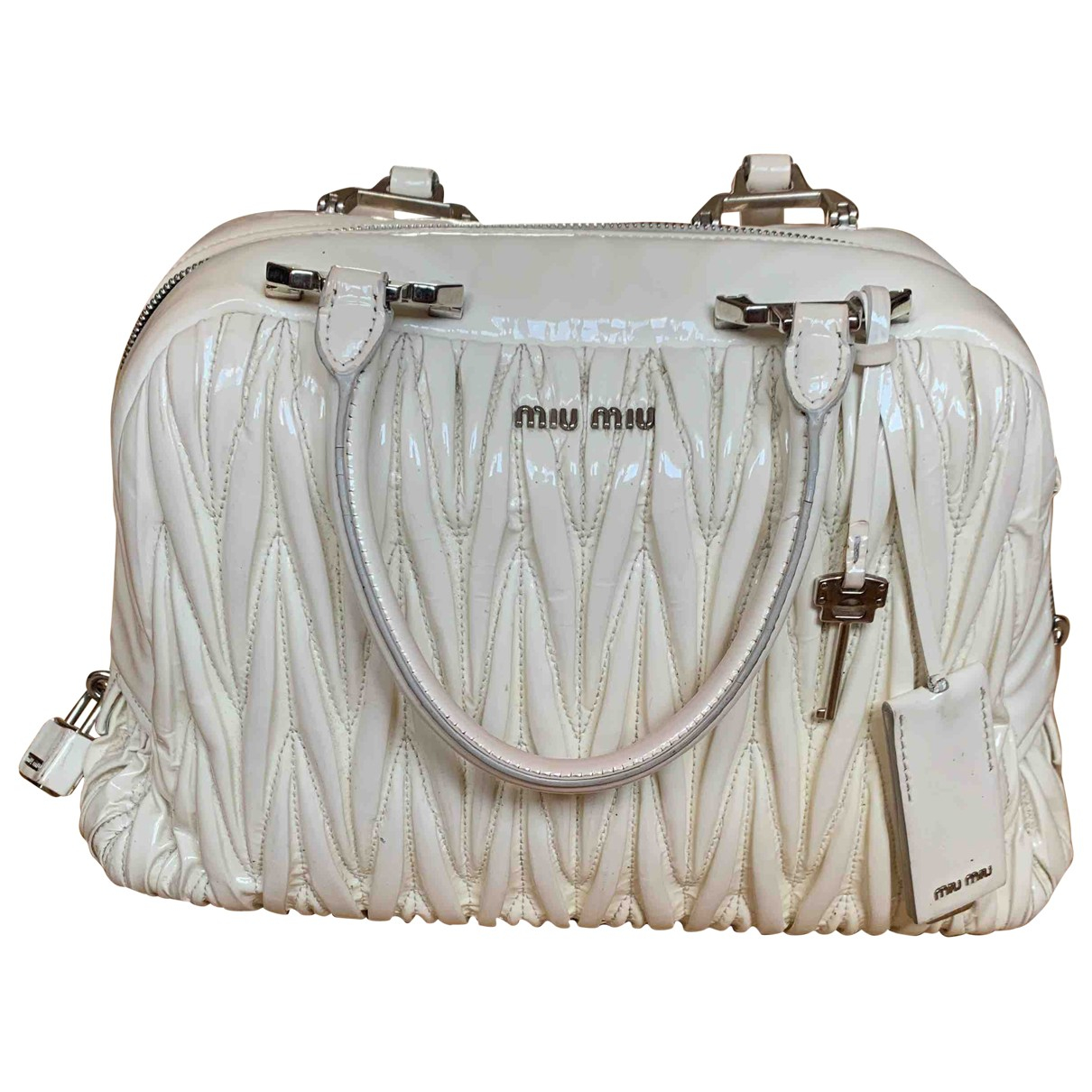 Miu Miu Matelassé White Patent leather handbag for Women \N