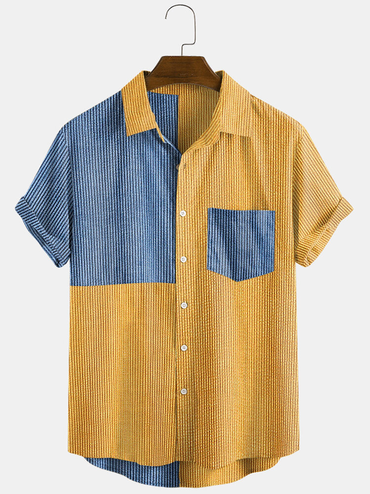 Mens Corduroy Solid Patchwork Casual Light Short Sleeve Shirts