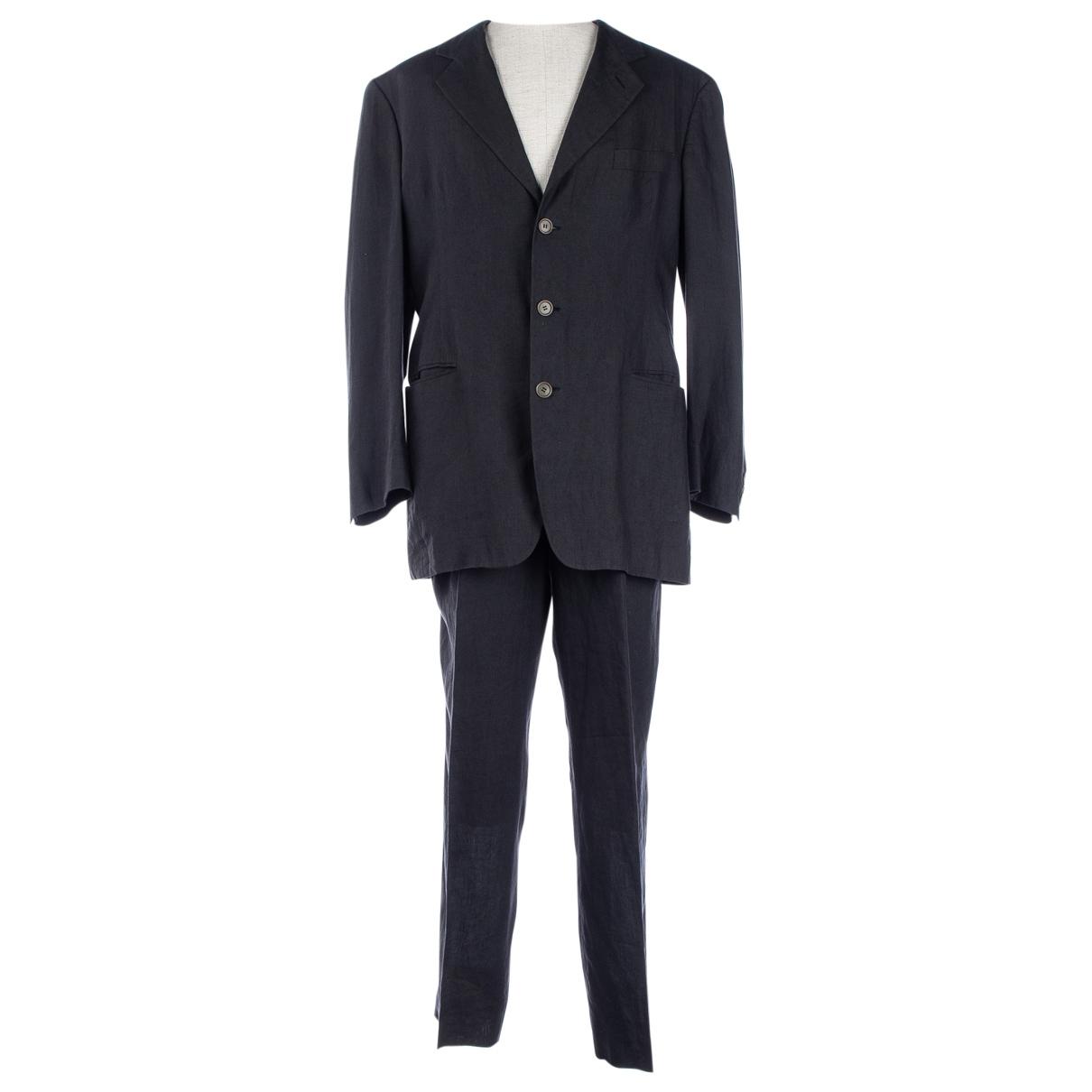Emporio Armani - Costumes   pour homme en lin - gris