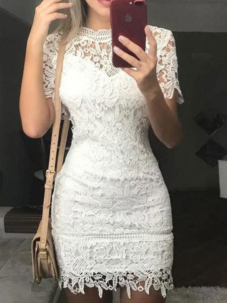 Milanoo White Lace Dresses Women Jewel Neck Short Sleeves Short Bodycon Dress