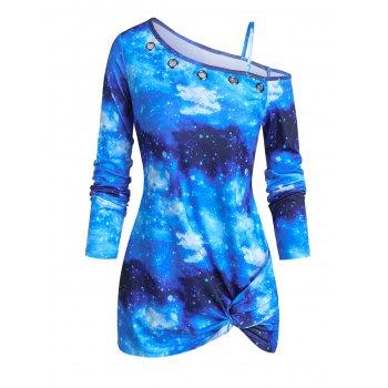Front Twist Skew Neck 3D Galaxy Print T Shirt