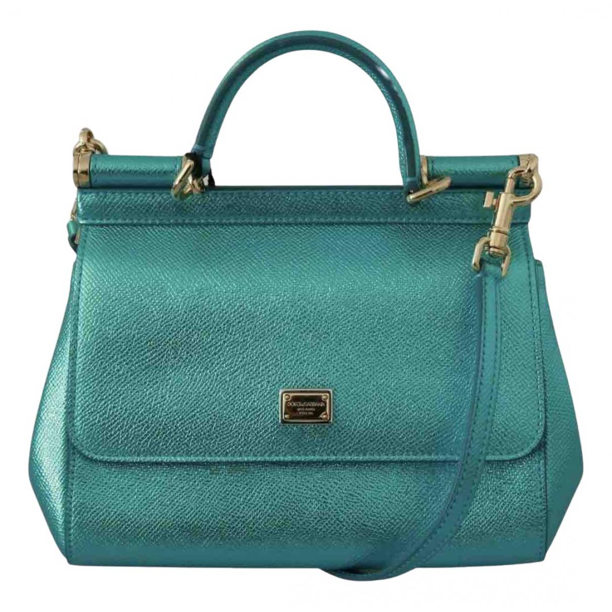 Dolce & Gabbana Sicily Handtasche in  Tuerkis Leder