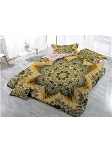 Golden Floral Wear-resistant Breathable High Quality 60s Cotton 4-Piece 3D Bedding Sets