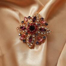 Gemstone Flower Design Brooch