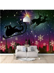 Christmas Theme Wall Mural Eco-friendly Non-woven Fabrics 3D Home Decoration TV Background Wall Decoration