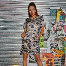 Camo Print Kangaroo Pocket Tee Dress